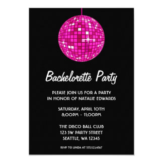 Hot Pink and Black Disco Ball Bachelorette Party Card
