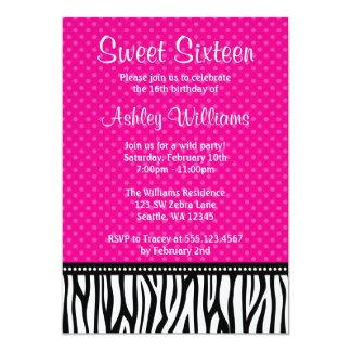 Hot Pink and Black Zebra Polka Dot Sweet 16 13 Cm X 18 Cm Invitation Card