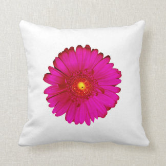 Hot Pink and Bright Orange Gerbera Daisy on White Pillows