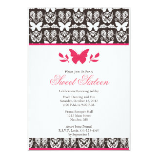 Hot Pink and Brown Butterfly Sweet 16 Invitaitons 13 Cm X 18 Cm Invitation Card
