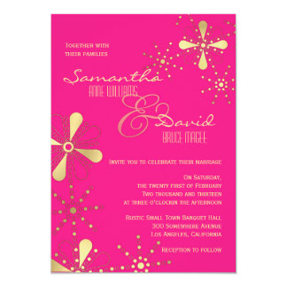 Hot Pink and Gold Indian Inspired Wedding 13 Cm X 18 Cm Invitation Card