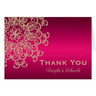 HOT PINK AND GOLD INDIAN STYLE WEDDING THANK YOU NOTE CARD