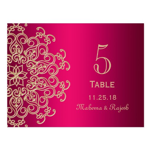 HOT PINK AND GOLD INDIAN WEDDING TABLE NUMBER CARD POSTCARDS