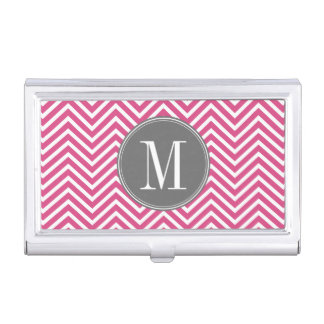 Hot Pink and Gray Chevron Pattern Monogram Business Card Case