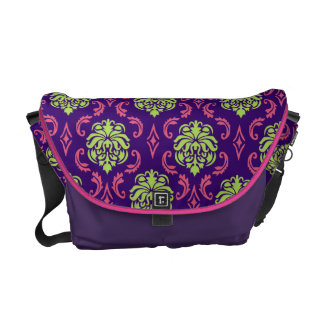 Hot Pink and Green Damask Bag Courier Bags