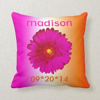 Hot Pink and Orange Gerbera Daisies Throw Pillow