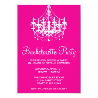 Hot Pink and White Chandelier Bachelorette Party Card