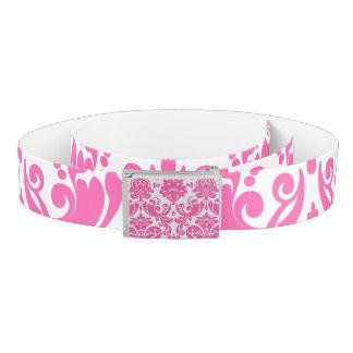 Hot Pink and White Elegant Damask Pattern Belt
