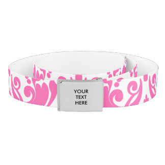 Hot Pink and White Elegant Damask Pattern Belt