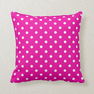 Hot Pink and White Polka Dot on a Pillow Throw Cushions