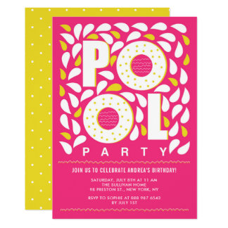 Hot Pink and Yellow Pool Party Splash Birthday Card