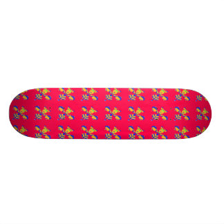 Hot Pink and Yellow Skateboard Design