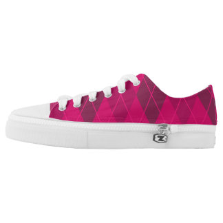 Hot Pink Argyle Low Tops