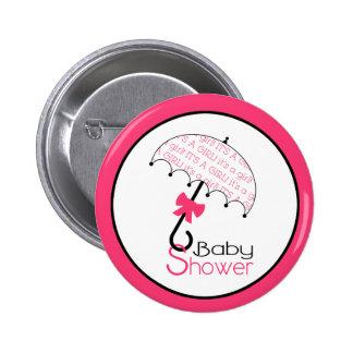 Hot Pink Baby Shower Button - Umbrella