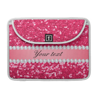 Hot Pink Big Faux Glitter with Diamonds Sleeve For MacBooks