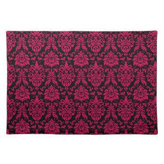 Hot Pink Black Damask Pattern Placemat