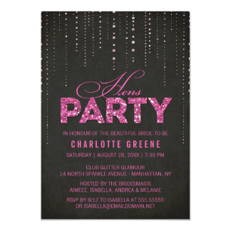 Hot Pink & Black Glitter Look Hens Party Card