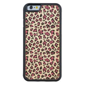 Hot Pink Black Leopard Animal Print Pattern Carved Maple iPhone 6 Bumper Case