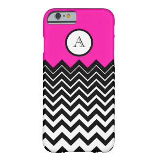 Hot Pink Black White Chevron Zigzag Monogram Barely There iPhone 6 Case