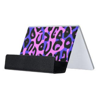 Hot Pink Blue Abstract Cheetah Desk Business Card Holder