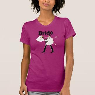 HOT PINK Bride shirt with bride & groom
