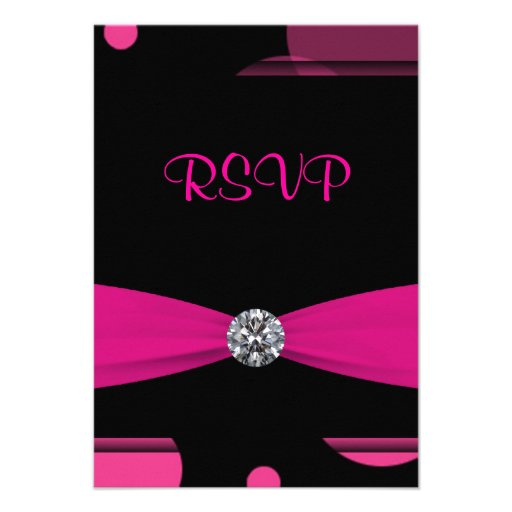 Hot Pink Bubbles Quinceanera 15th Birthday RSVP Invite