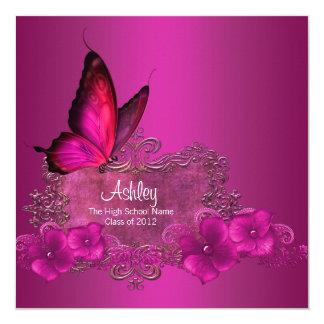 Hot Pink Butterfly Graduation Announcements