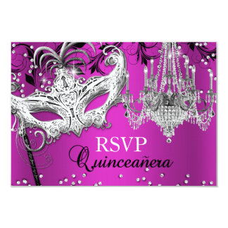 Hot Pink Chandelier Masquerade Quinceanera RSVP Card