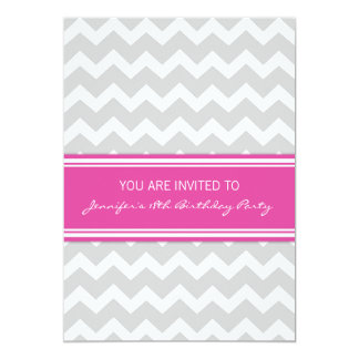 Hot Pink Chevron 18th Birthday Party Invitations