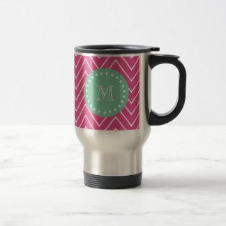 Hot Pink Chevron Pattern | Mint Green Monogram Coffee Mug
