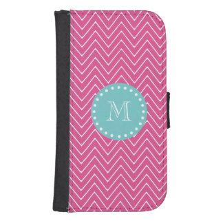 Hot Pink Chevron Pattern | Teal Monogram Samsung S4 Wallet Case
