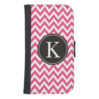 Hot Pink Chevron Stripe Pattern Custom Monogram Samsung S4 Wallet Case