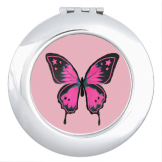 Hot Pink Compact Butterfly Mirror Makeup Mirrors