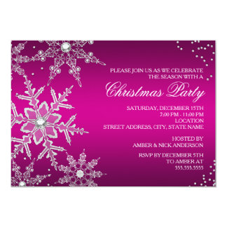 "Hot Pink Crystal Snowflake Christmas Dinner Party 5"" X 7"" Invitation Card"