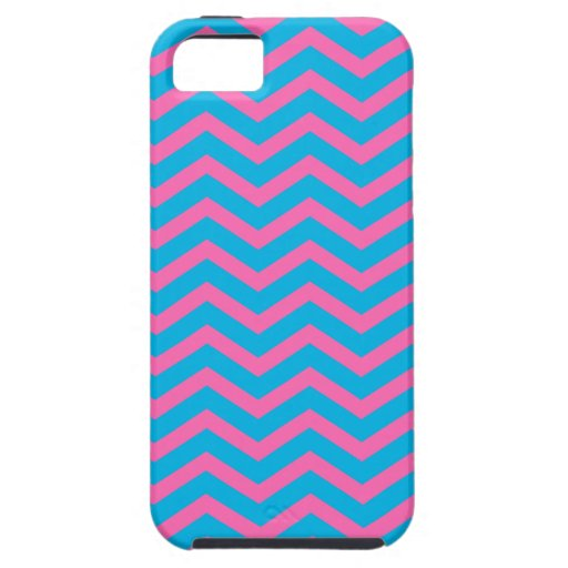 Hot Pink & Cyan Zigzag Pattern iPhone 5 Case