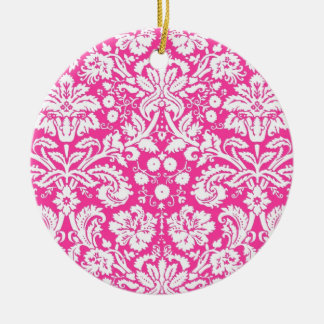 Hot pink damask pattern christmas tree ornament