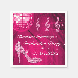 Hot Pink Disco Ball and Sparkle Heels Graduation Paper Napkins