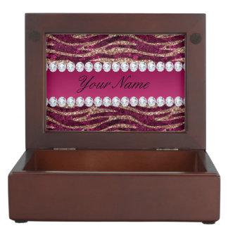 Hot Pink Faux Foil Zebra Stripes Rose Gold Keepsake Box