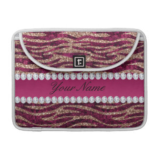 Hot Pink Faux Foil Zebra Stripes Rose Gold Sleeve For MacBooks