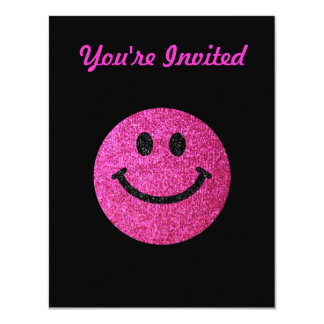 Hot pink faux glitter smiley face card