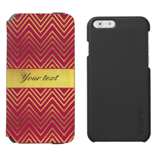 Hot Pink Faux Gold Foil Chevrons Incipio Watson™ iPhone 6 Wallet Case