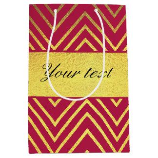 Hot Pink Faux Gold Foil Chevrons Medium Gift Bag