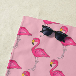Hot Pink Flamingo Tropical Island Bird Flamingoes Beach Towel