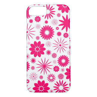 Hot Pink Floral Pattern Design iPhone 7 Case