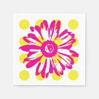 Hot Pink Flower Paper Napkin