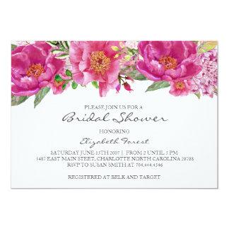 Hot pink flowers  bridal shower invitation