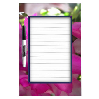 Hot Pink Flowers Dry Erase Board