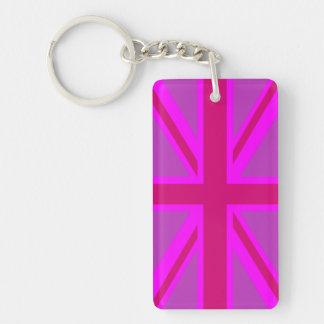 Hot Pink Fushia Union Jack British Flag Background Key Ring