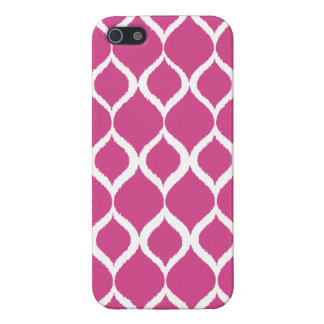 Hot Pink Geometric Ikat Tribal Print Pattern iPhone 5 Cases
