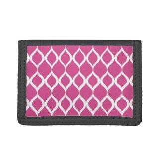 Hot Pink Geometric Ikat Tribal Print Pattern Trifold Wallet